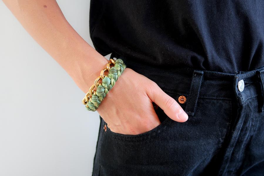 bracelet gourmette style aurelie bidermann porté